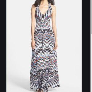 NWT Jessica Simpson Print Jersey Halter Maxi Dress